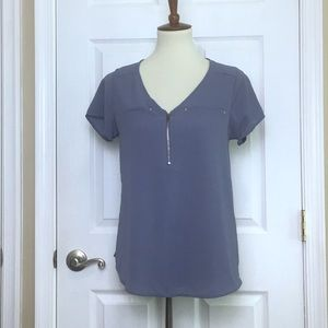 Tempted Blue Mixed Media Short Sleeved Top Small